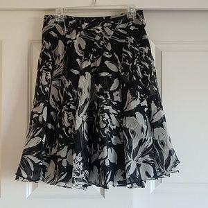 Banana Republic a line black white silk skirt sz4